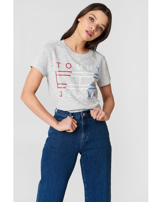 Tommy Hilfiger - Gray Clean Tommy Flag Logo Tee - Lyst