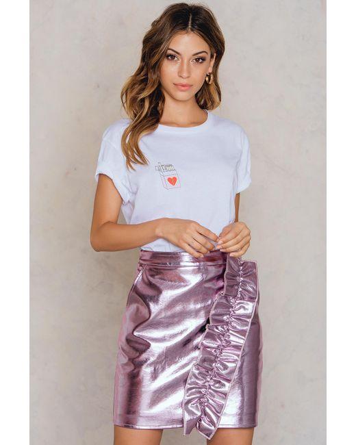 NA-KD - Pink Metallic Frill Skirt - Lyst
