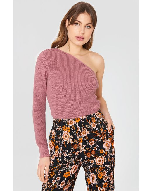 NA-KD - Multicolor One Shoulder Oversize Knitted Sweater Purple Rose - Lyst