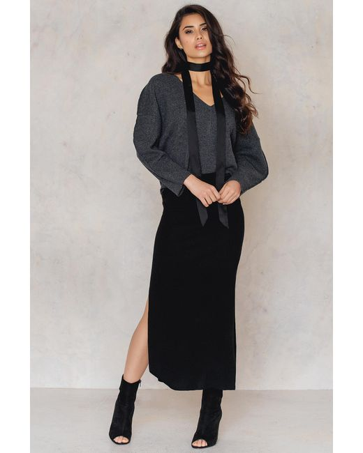 NA-KD   Black Knitted Side Slits Skirt   Lyst