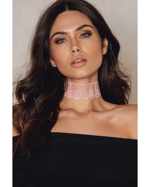 NA-KD | Pink Thin Lace Choker | Lyst