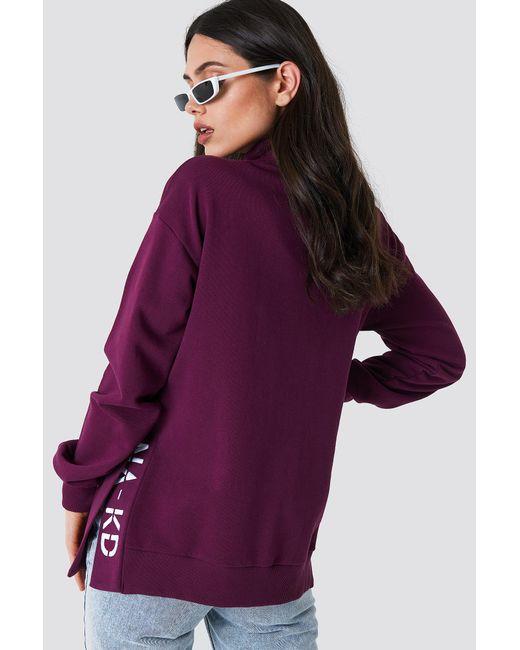 NA-KD - Purple Slit Embroidery Sweatshirt Bordeaux - Lyst