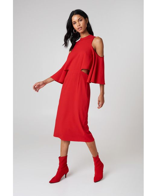 NA-KD - Cut Out Tied Neck Dress Red - Lyst