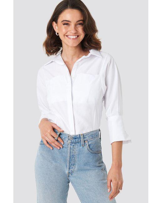 85286b51315 NA-KD Pocket Detail Shirt White in White - Lyst