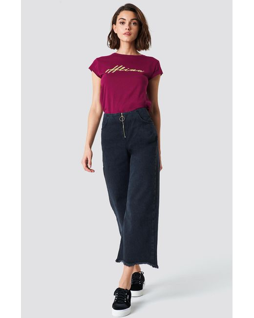 Trendyol - Front Zip Culotte Jeans Black - Lyst