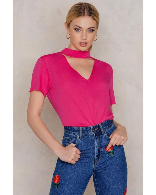 NA-KD - Pink V Cut Out Tee - Lyst