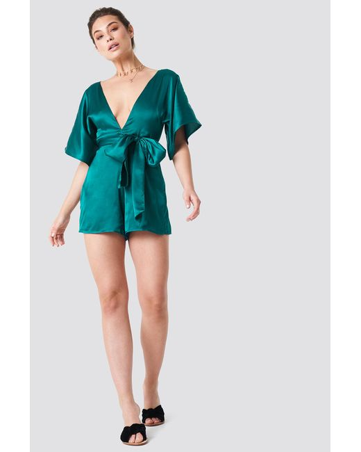 f2f7e840a31 ... NA-KD - Deep V-neck Silky Playsuit Emerald Green - Lyst ...