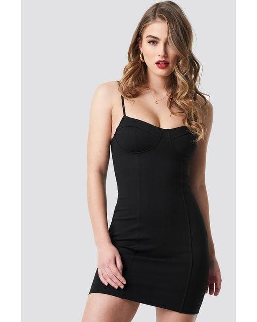 30a3740625e78 NA-KD Tight Short Cup Dress Black in Black - Lyst