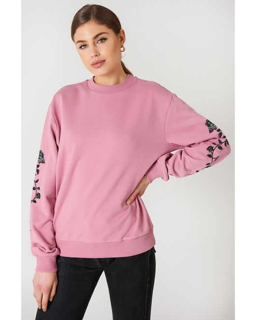 NA-KD - Pink Rose Embroidery Sleeve Sweater - Lyst