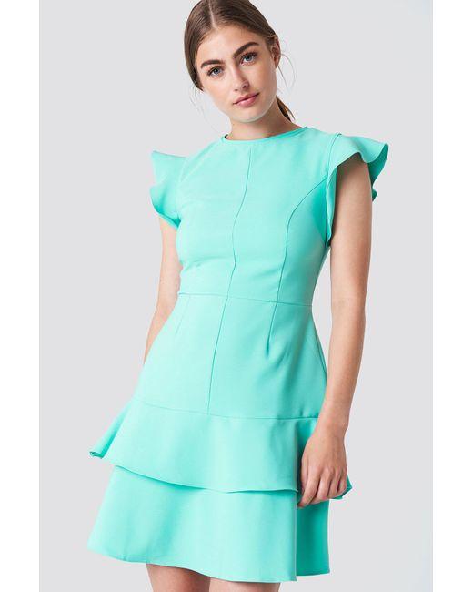 Trendyol - Green Flounce Shoulder Mini Dress - Lyst