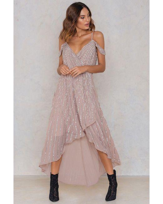 True Decadence   Pink Cold Shoulder Overlap Dress   Lyst