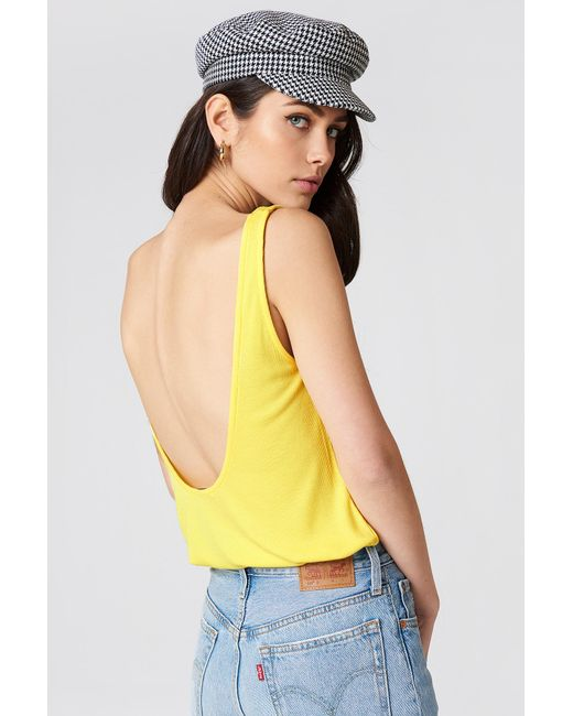 NA-KD - Ribbed Low Back Tank Top Light Yellow - Lyst