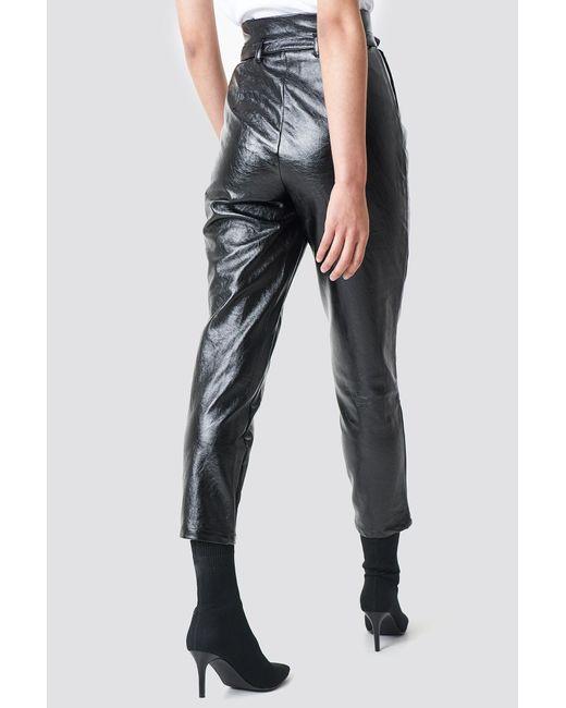 bb7c37c0e01d9 ... NA-KD - Paperwaist Patent Leather Pants Black - Lyst ...