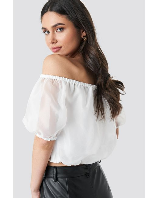 4cabc3d9b4259 ... NA-KD - Off Shoulder Puff Sleeve Top White - Lyst ...