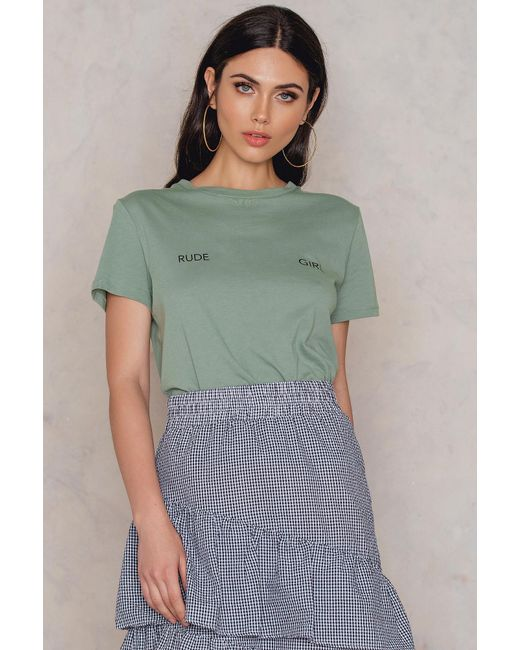 NA-KD - Green Rude Girl Chest Tee - Lyst