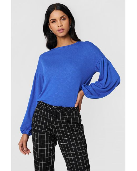 NA-KD - Blue Balloon Sleeve Sweater - Lyst