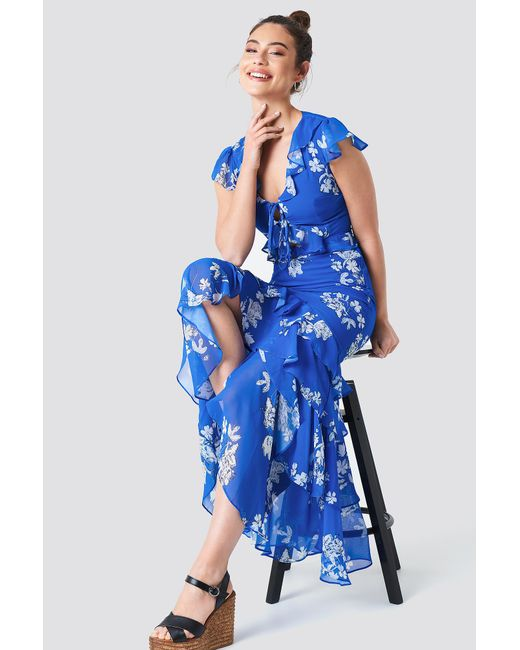 Trendyol - Tie Front Ruffle Detailed Dress Royal Blue - Lyst