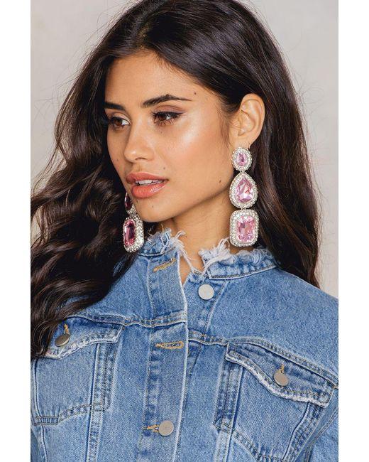 NA-KD | Pink Triple Big Rhinestone Earrings | Lyst