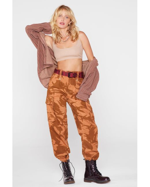nasty gal after party vintage blend in camo pants in orange lyst