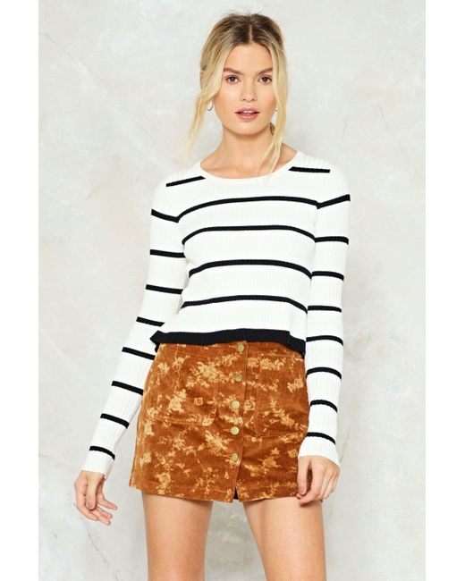 Nasty Gal | White Send Me A Line Striped Sweater Send Me A Line Striped Sweater | Lyst
