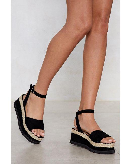 """Nasty Gal - Black """"what Goes Up Platform Sandal"""" - Lyst"""