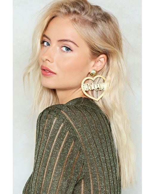 Nasty Gal | Metallic Baby Girl Acryclic Hoop Earrings Baby Girl Acryclic Hoop Earrings | Lyst