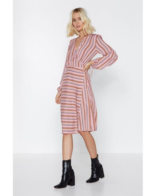 Nasty Gal - Multicolor Your Guess Is As Good As Line Striped Dress - Lyst