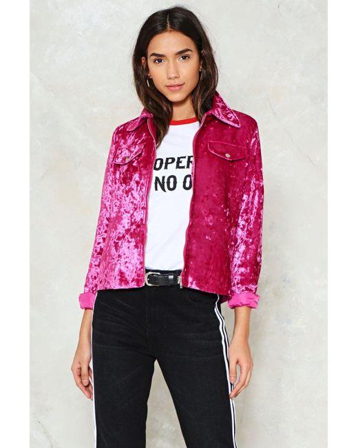 Nasty Gal | Pink Crush Velvet Jacket Pink Crush Velvet Jacket | Lyst