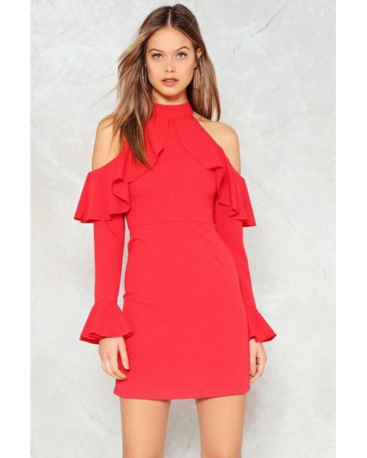 Nasty Gal - Red Frill Cold Shoulder Dress Red Frill Cold Shoulder Dress - Lyst