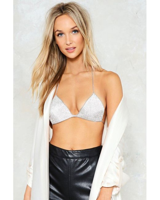 Nasty Gal | Metallic Hung Up Bra Top Hung Up Bra Top | Lyst