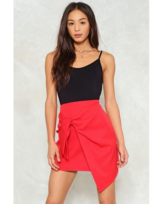 Nasty Gal   Red Bow Front Asymmetric Mini Skirt Bow Front Asymmetric Mini Skirt   Lyst