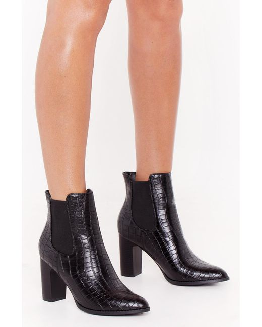 "Nasty Gal Black ""snap Out Of It Faux Leather Croc Boots"""