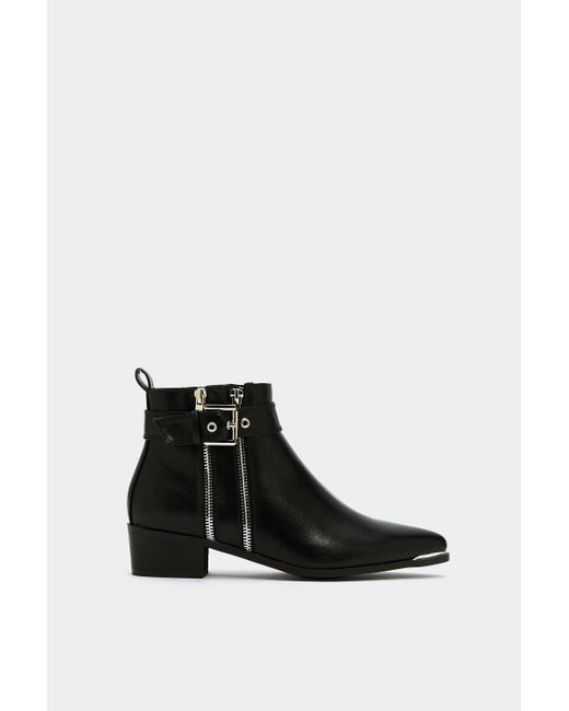 """Nasty Gal Black """"take It In Your Stride Zip Bootie"""""""
