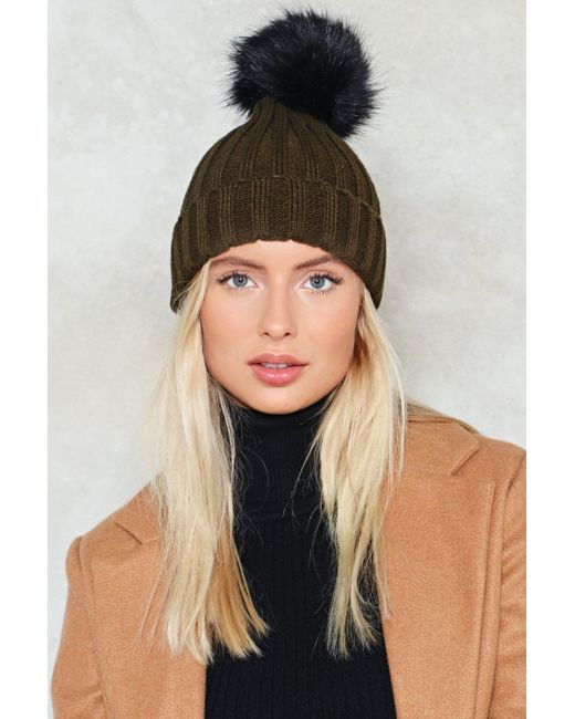 Nasty Gal | Natural Ribbed Bobble Hat Ribbed Bobble Hat | Lyst