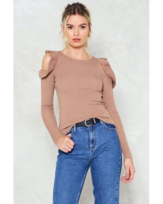 Nasty Gal | Blue I'm Knit Kidding Cold Shoulder Sweater I'm Knit Kidding Cold Shoulder Sweater | Lyst