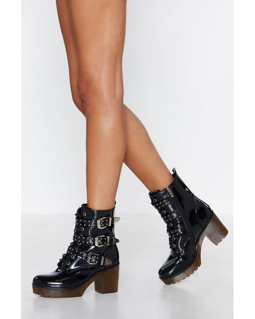 Nasty Gal - Black Look A Million Buckles Studded Boot - Lyst