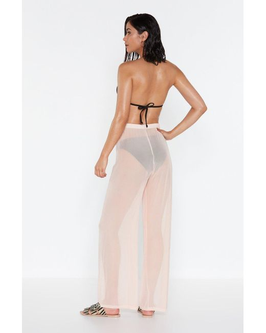 a07df5c247330 ... Nasty Gal - Pink Plain Sailing Sheer Cover-up Pants - Lyst ...