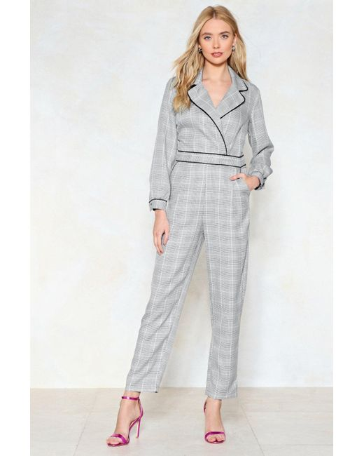 Nasty Gal - Gray Tailor To Your Needs Check Jumpsuit - Lyst