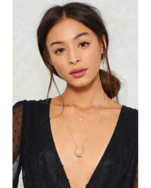 Nasty Gal   Metallic Horn And Diamante Layered Necklace Horn And Diamante Layered Necklace   Lyst