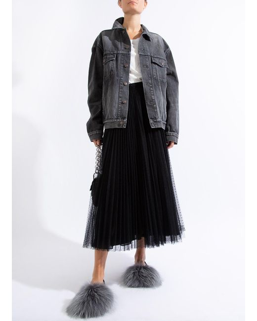 3c712d84d50f74 Balenciaga - Black Logo Denim Jacket - Lyst ...