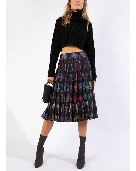 6b85fb6882 Altuzarra - Black Allover Feather Print Pleated Midi Skirt - Lyst ...