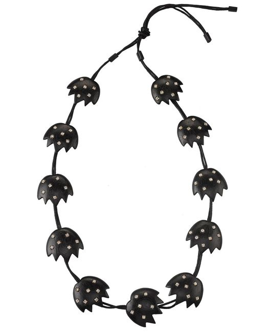 Natori | Black Josie Acacia Wood With Silver Long Necklace | Lyst