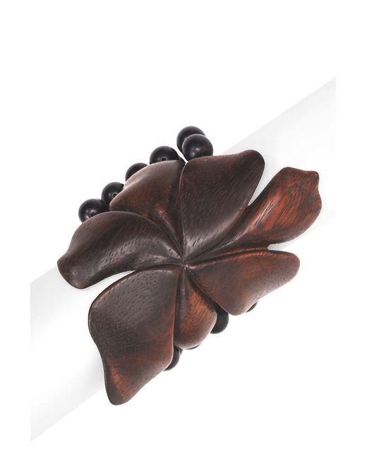Natori - Natural Josie Acacia Wood Floral Bracelet - Lyst