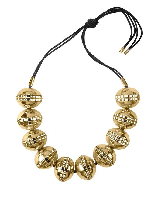 Natori - Metallic Josie Gold Brass Cage Round Necklace - Lyst