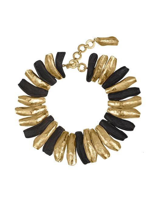 Natori - Metallic Josie 24k Goldplated Brass With Darkwood Necklace - Lyst