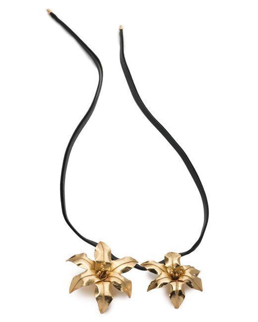 Natori - Black Josie Brass Double Floral Necklace - Lyst