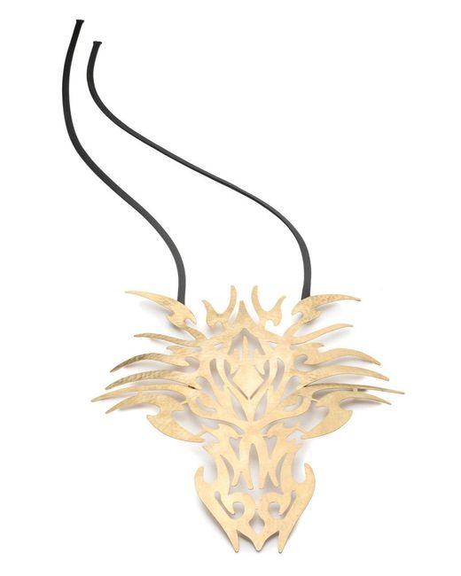Natori - Metallic Josie Hammered Brass Dragon Head Necklace - Lyst