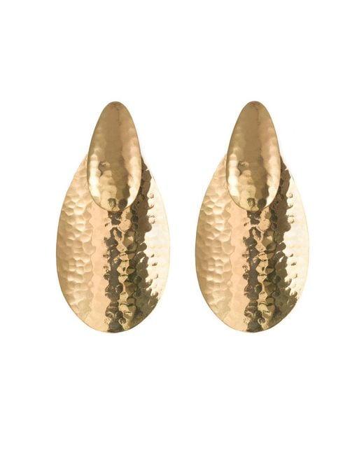 Natori - Metallic Hammered Gold Oval Earrings - Lyst