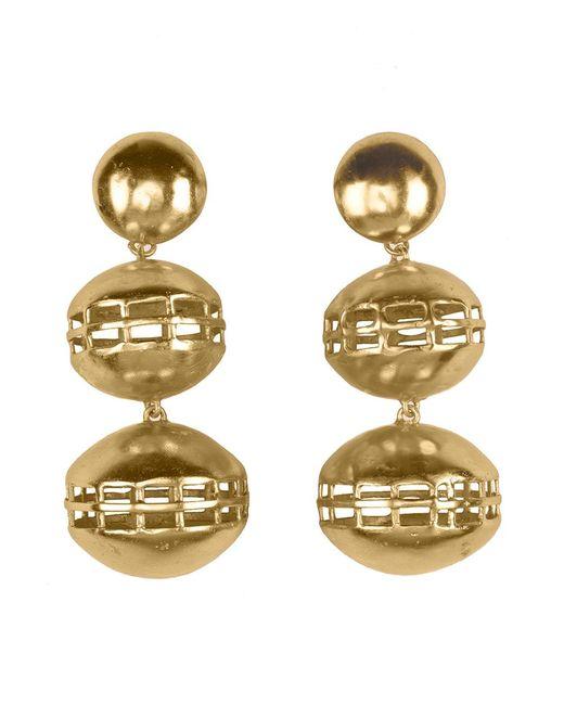 Natori   Metallic Josie Gold Brass Double Cage Earrings   Lyst