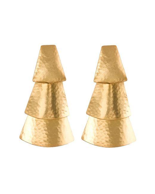 Natori - Metallic Hammered Gold Triangle Earrings - Lyst